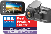 DRV-A501W - Wide Quad HD DashCam met geïntegreerde 3.0 LCD, Wireless Link, GPS & G-sensor - RearCam-input
