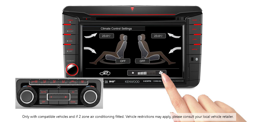 Volkswagen Climate Control Display on Kenwood DNX525DAB