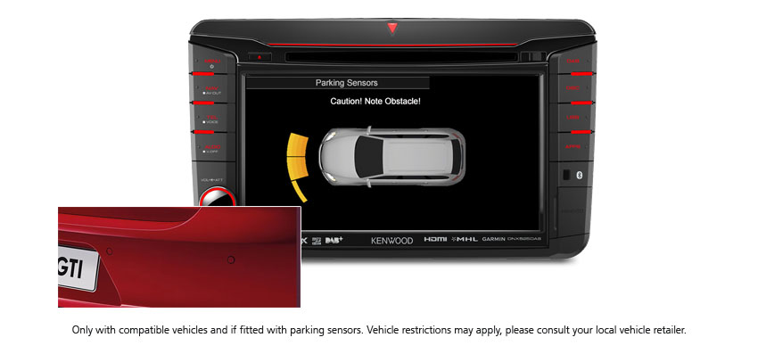 Volkswagen Parking Sensor Displayed on DNX525DAB