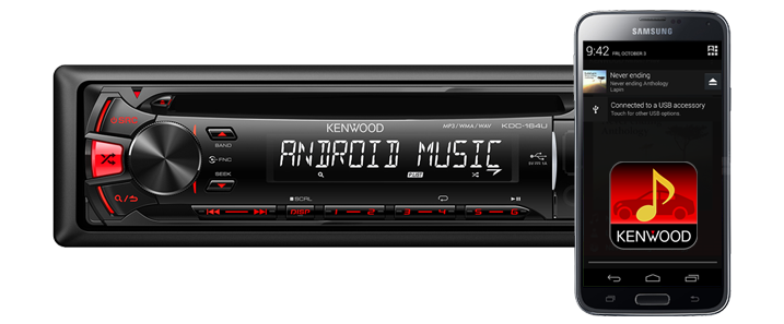 KDC-164UR Android smartphone Kenwood Music App